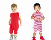 baby romper, toddler romper, toddler boy romper, baby girl romper, baby boy romper, solid romper, striped romper, RED or RED and WHITE