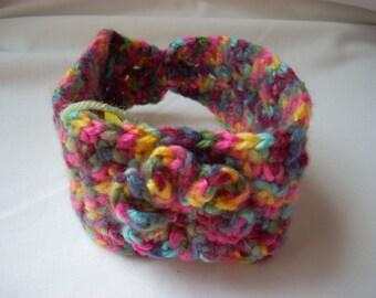 Baby Girl Ear Warmer, Colorful Flower Ear Warmer, Crochet Baby Girl's Earwarmer, Multi Colored Pink Flower Ear Warmer, Confetti Colored Baby