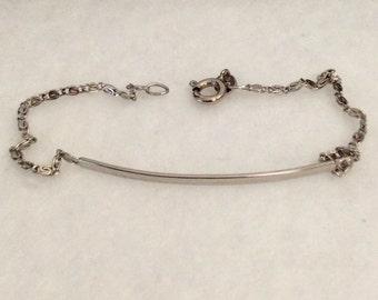 """Vintage sterling silver bar link bracelet, stamped .925 sterling, wrist or ankle bracelet with 7"""" long scroll bracelet."""