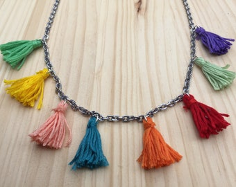 Tassel Necklace Colourful Necklace Long Chain Necklace Women's Necklace Handmade Tassel Pom- pom Necklace Colourful Jewellery Gift For Her