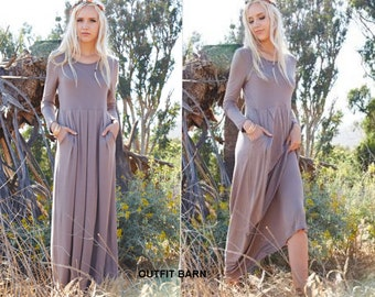 Winter Long Sleeve Dress/Holiday Maxi Dress
