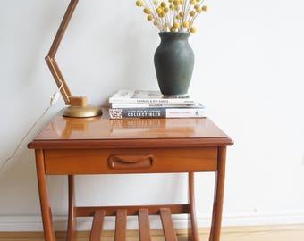 Vintage Mid Century G Plan Teak Side Table With Magazine Rack