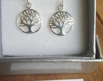 Sterling silver dangly charm earrings - tree of life