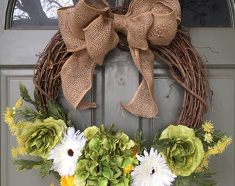 SALE! Spring grapevine floral wreath with hydrangeas and roses, year round front door wreath, door wreath, spring wreath, hydrangea wreath