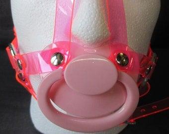 ABDL, Sissy 5 Point Fully Adjustable Vegan PVC Head Harness PaciGag (6 ring design)