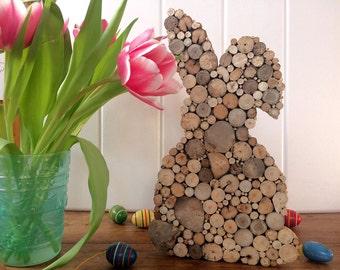 Easter Bunny from driftwood, rabbit, tree grates, Easter decoration, Easter decoration, maritime, sea