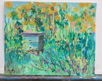 Original Watercolor Painting by Wilena Beehive Honey Bee Sunflowers BeeKeeping Apiary Wildflowers Bee Garden Herbs Flowers Bees