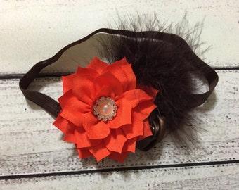 Fall Baby Headband Thanksgiving Baby Headband Autumn Baby Headband Orange and Brown Baby Headband Fall Headband Thanksgiving Headband