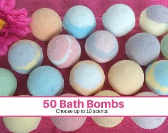 FREE SHIPPING Bath Bombs Wholesale, Bulk Bath Bombs Favors, 50 1.3 oz Bath Bomb, Bath Fizzies. Coconut Oil, Epsom Salt, Shea Butter