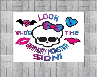New Big 13 x 19 Personalized Monster High Poster Birthday Banner Sign Monster High Logo Print Door Sign