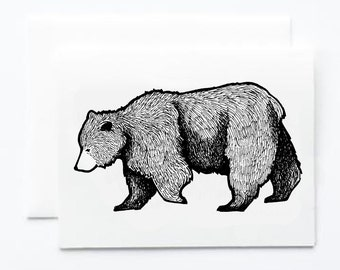 Grizzly Bear Notecard, Single or Boxed Set