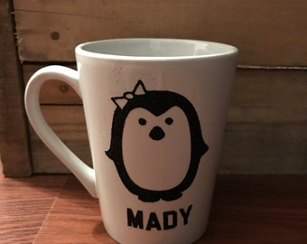 Personalized penguin mug cup