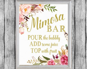 Mimosa Bar Sign. Mimosa Bar Printable. Bridal Shower Mimosa Bar Sign.  Printable Bridal Shower Decor. Instant Download