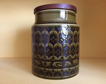 Hornsea heirloom green large sugar jar canister 1972