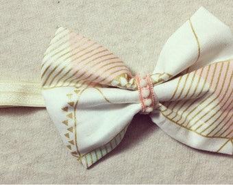 Headband - Printed Striped Gold W/ pink & Mint Green