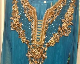 Turquoise and Gold Pakistani Salwar Kameez Maxi Dress