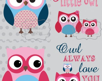 Set of 7  - 8x10 Owls & Quotes Prints