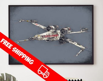 Star Wars X-Wing Fighter Poster, Star Wars Art, X-Wing Fighter Print, Star Wars Fine Art Giclee, Star Wars Kids Room Gift