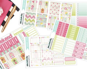Wooden Spring Weekly Kit for ECLP Vertical Planner Stickers