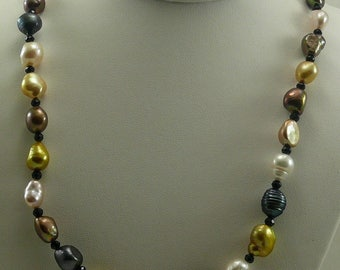 Freshwater Multicolor Pearl and Black Spinel Necklace with Sterling Silver Clasp