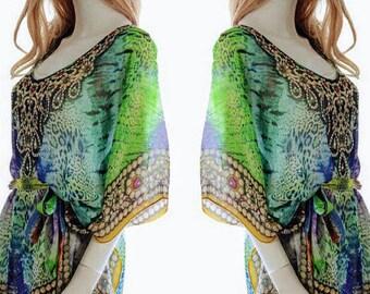 PLUS caftans Kaftan CAFTAN dress for beach poncho beaded dress in GREEN boho gypsy short dress