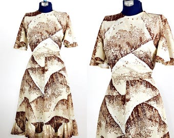 Vintage 1970s Desert Papillon Dress / medium