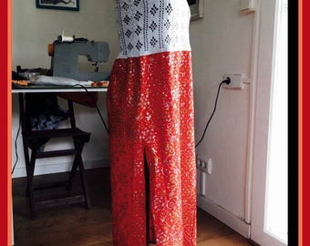 Dressed in body of crochet and cotton skirt