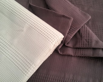 Organic Cotton blanket -  Waffle blanket throw - Natural bedspread - Waffle bedding - Christmas Gift - Ivory Grey blanket - Purple Coverlet