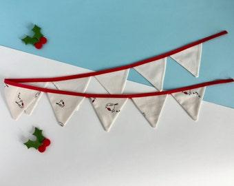 Christmas bunting - Mini festive bunting - Christmas Banner - Christmas robins bunting - 1 metre bunting - Christmas in July