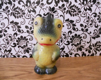Soviet vintage rubber toy Blue Crocodile Rare toy from USSR Soviet style Collectible toy Crocodile toy is made in 1980-s