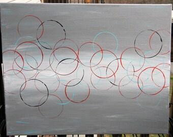 Original acrylic abstract - circle pattern