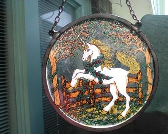 Vintage GlassMaster 6.5In. Round Suncatcher Featuring a Rearing Up Majestic Unicorn in the Enchanted Woods with a Link chain / Pewter Frame