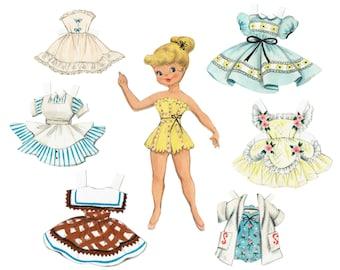 Printable Paper Doll Vintage 1950s Reproduction Instant Digital Download