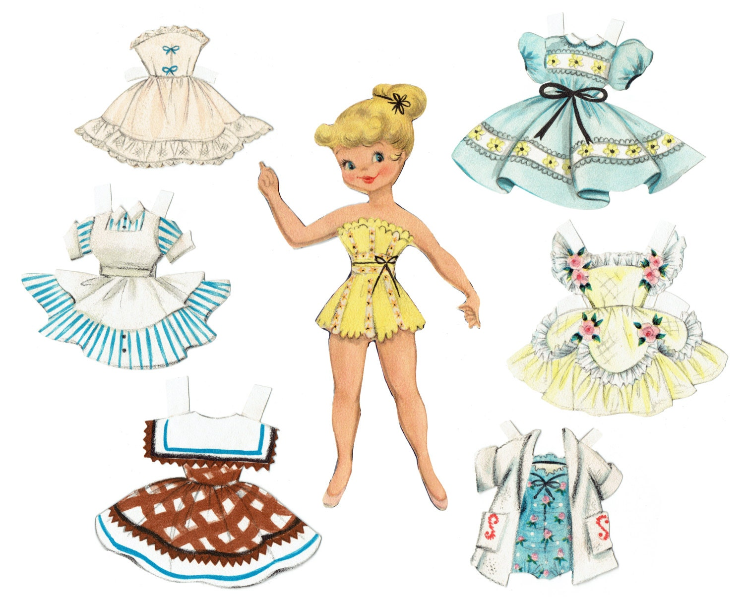 Printable Paper Doll Vintage 1950s Reproduction Instant