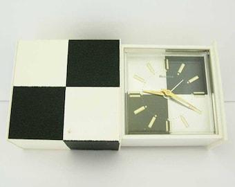 Vintage Mod Bulova Wind Up Travel Alarm Clock Japan Mid Century Modern Alarm Clock Black and White Checkerboard Design Works