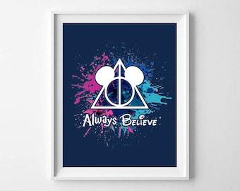 Always Believe disney mickey mouse harry potter digital art print