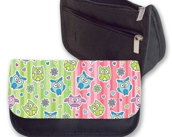 COLOURFUL OWLS background pencil case / Make - up or Clutch bag. Can be personalised. Perfect for  Back To School.