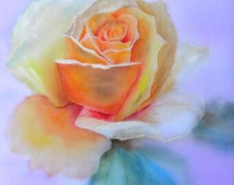 Original Watercolor Painting on silk, batik, rose, pink flowers
