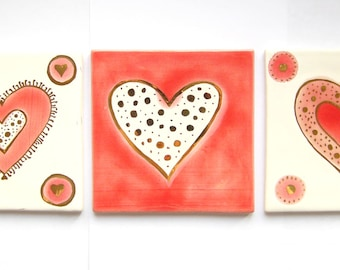 RED LOVE - 3 Tiles hand 4 x 4 inch - hand made and hand painted