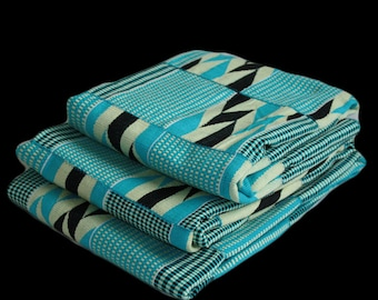 Kente Cloth Authentic African Fabric Handwoven Ghana Textile Turquoise Blue Cream Black Cotton SUMMER SAVINGS
