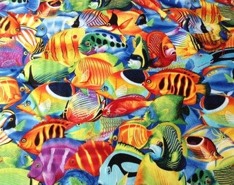 Tropical Fish Fabric by Timeless Treasures, Ocean Animal Fabric