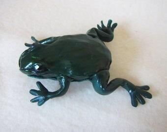 Green Frog Leather Brooch, Summer Brooch frog, Green marsh frog, leather brooch frog, frog brooch, leather Brooch frog, brooch leather Frog