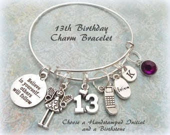 13th Birthday Gift, 13th Birthday Charm Bracelet, Daughter Gift Ideas, Personalized Jewelry, Teenage Girl Gift, Daughter Gift Ideas