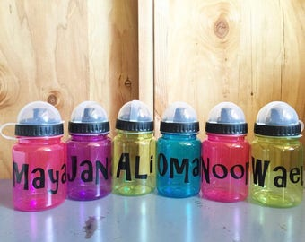 Custom kids 12 oz water bottles •  name monogram initial sports • pink blue green purple • *fast shipping* 12 ounce bpa free