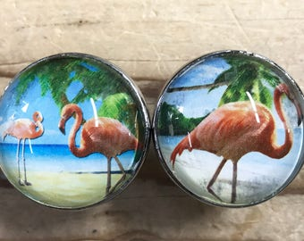 Pink Flamingos Bird Drawer Pulls, Cabinet Pulls, Knobs - Set of 2 knobs