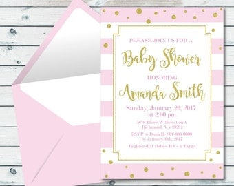 Pink And Gold Baby Shower Invitation, Pink And Gold Glitter, Pink And Gold Printable Baby Shower Invites, Baby Girl Shower Invitation
