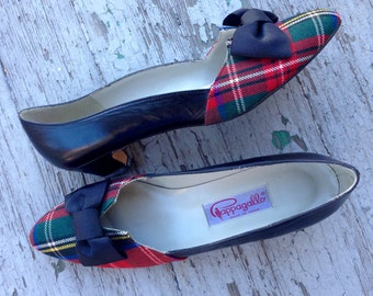 Vintage Pappagallo Tartan Plaid Shoes 8.5N // Plaid Pappagallo Shoes with Bow // 8.5N Primary Colors Pappagallo Shoes