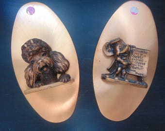 1970's Poodle & Mouse wall plaques