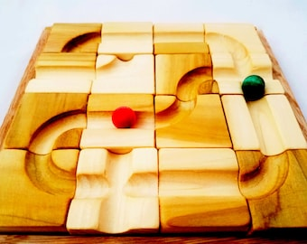 Marble maze - wooden marble run - special needs toy- portable marble toy - Christmas gift - gift for kids - montessori toys - marble race