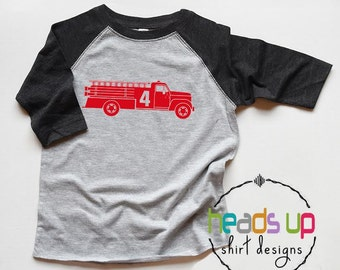 Fire Truck 4 Shirt Toddler Boy/Girl - Fourth Birthday Shirt Fire Truck Raglan - 4th Bday tshirt Fireman - Trendy Birthday Tee Firetruck Gift